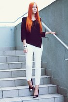 black second hand blouse - white second hand pants - black F&F heels