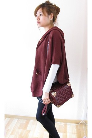 maroon cape - black H&M tights - crimson bag - navy polka dots shorts