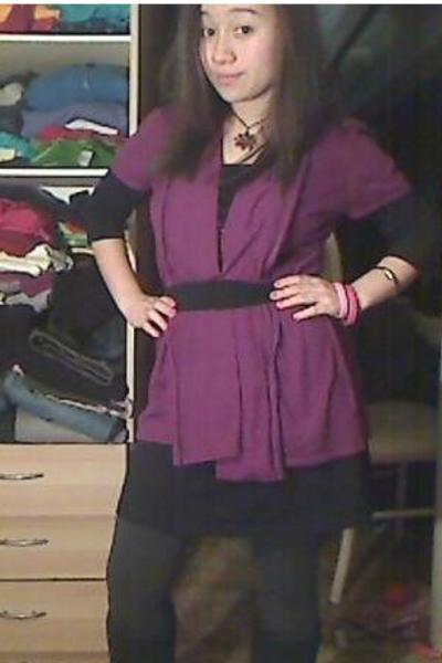 black dress - purple cardigan