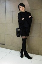 Muji - bag - American Apparel stockings - Boutique 9 boots