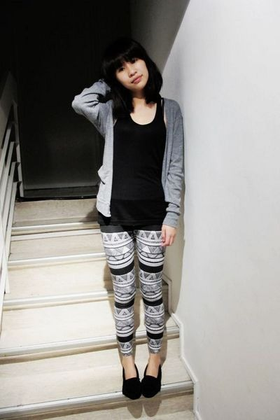 gray American Apparel cardigan - black American Apparel vest - American Apparel