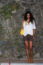 silk Abraham Will shirt - thrift shorts - Zara heels