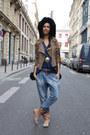 Vivienne-westwood-boots-black-thrifted-vintage-coat-blue-zara-jeans-suede-