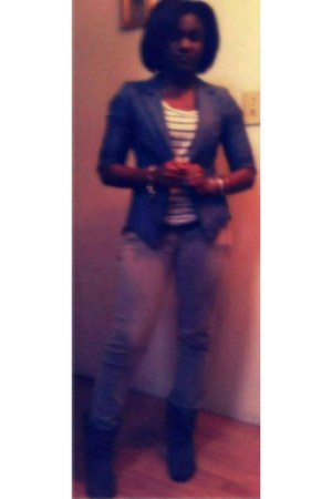 blue blazer - dark gray boots - heather gray skinny jeans - shirt