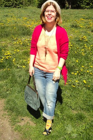 hot pink hollister cardigan - Forever 21 jeans - light orange Vero Moda shirt