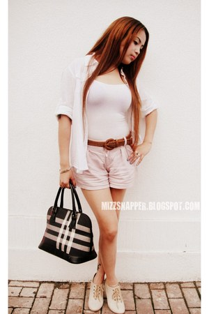 Booties Mimosa shoes - Burberry bag - Zara Basic shorts - Forever21 top - Foreve
