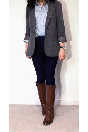 brown riding thrifted boots - gray gray thrifted blazer