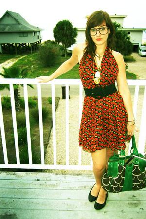 Anna Sui dress - belt - shoes - purse