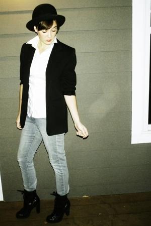 hat - vintage blazer - shirt - H&M jeans - Guess boots
