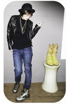American Apparel shirt - H&M jeans - Dr Martens - FCUK jacket