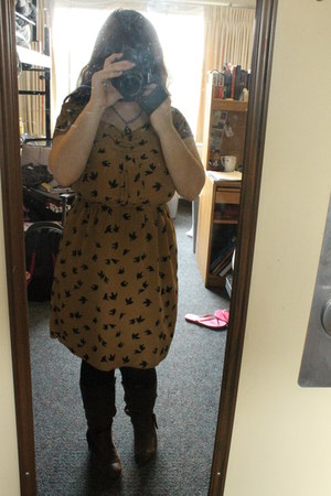 camel Old Navy dress - dark brown G H Bass boots - black Generic tights