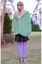 aquamarine jacket - gold shoes - light purple tights - light purple socks