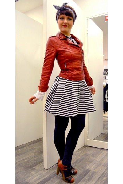 red Pimkie jacket - white new look skirt