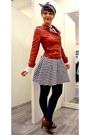 Red-pimkie-jacket-white-new-look-skirt