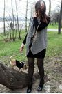 Black-intimissimi-dress-black-wolford-tights-gray-massimo-dutti-vest-gold-
