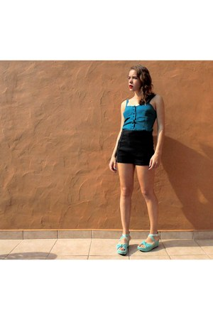 teal satin handmade top - black lace-up Zara shorts - aquamarine Seaside sandals