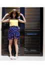 Dark-brown-piz-buin-hat-gold-mo-top-dark-brown-mango-belt-navy-mo-skirt