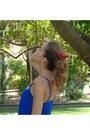 Hot-pink-bershka-shorts-hot-pink-unknown-hair-accessory-blue-mango-top