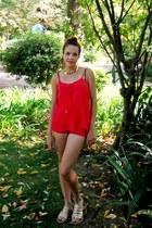 gold Mango sandals - hot pink Bershka shorts - red Bershka top