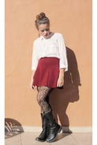 ivory Lefties blouse - black Levis boots - ruby red Zara skirt