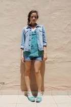 sky blue denim SKHB Surf Riders jacket - teal denim Weather Vane shorts