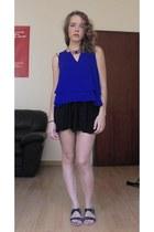 blue Mango top - black Bershka skirt - navy Mango necklace