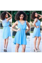 sky blue lace high low SBH dress