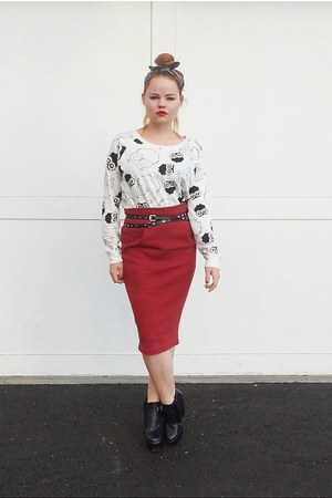 brick red jersey Self Made skirt - white owl print Forever 21 sweatshirt