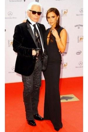 black v-necked Victoria Beckham dress