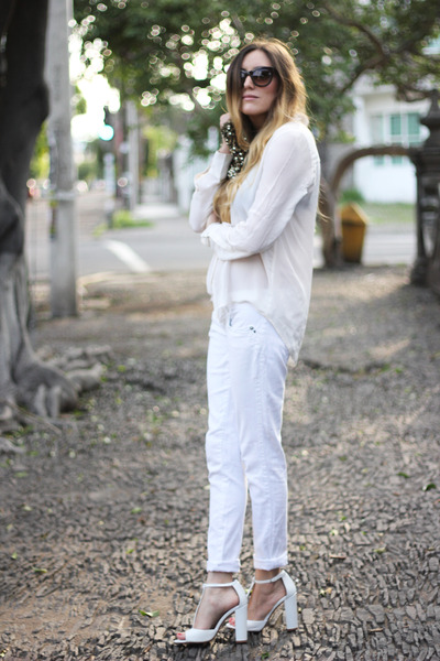 white Zara shoes - white long sleeve Zara shirt - gold sequined Zara bag