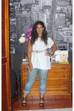 Zara shirt - vintage belt - Flower - Pepe Jeans old jeans - Zara shoes - D&G sil