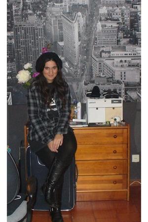 Zara leggings - Replay boots - Fathers old t-shirt - Zara shirt - H&M Beanie
