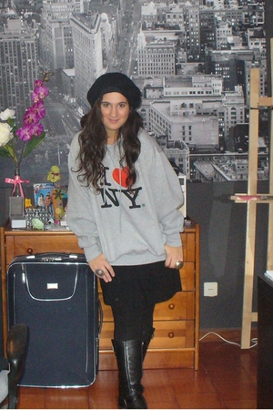 Replay boots - Zara leggings - Zara dress - I heart NY sweater - H&M Beanie - Ri