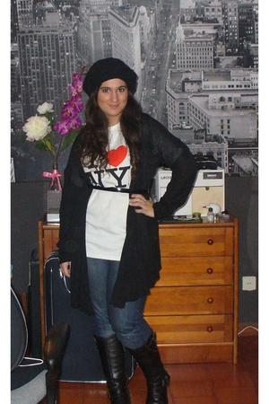 Replay boots - Zara jeans - Zara coat - I heart NY t-shirt - H&M Beanie - vintag
