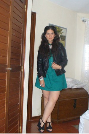 black Zara jacket - turquoise blue Zara dress - black sandals