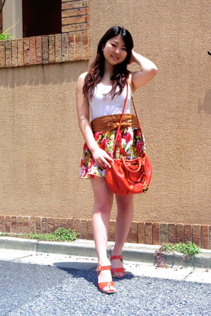 floral skirt skirt - orange bag Armani Exchange bag