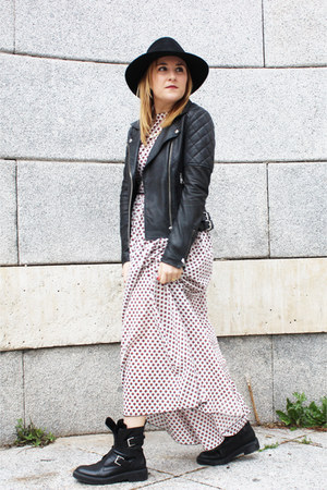 rich and royal jacket - Zara boots - AMBRE BABZOE dress - Bimba y Lola hat