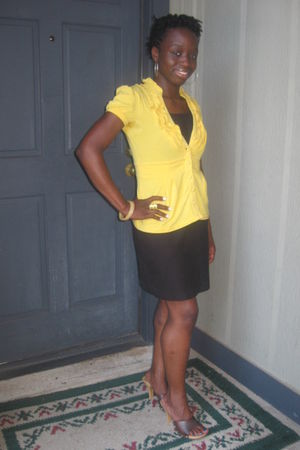 gold blouse - black dress - yellow shoes - accessories - yellow bracelet