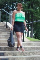 aquamarine Forever 21 top - black Michael Kors bag - black Forever21 skirt