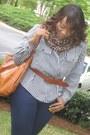 Navy-jeans-forever21-jeans-brown-scarf-h-m-scarf-tawny-heels-gojane-heels-