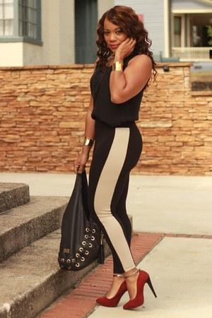 f21 leggings - Zara heels - thrifted blouse