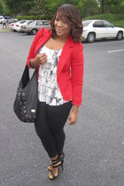 black leggins Forever21 leggings - red blazer H&M blazer - black leather Michael