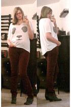 gray ali dr scholls boots - crimson American Apparel pants - white top