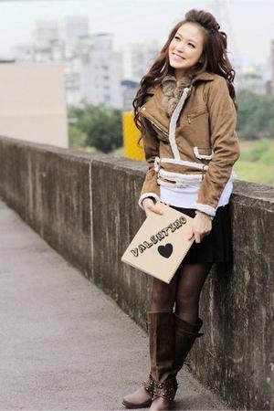black Forever 21 skirt - brown Forever 21 shoes - brown hanleys jacket