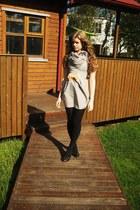 dress - black tights - scarf - heels