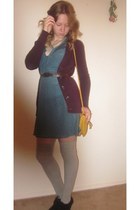 yellow purse - black boots - teal dress - silver stockings