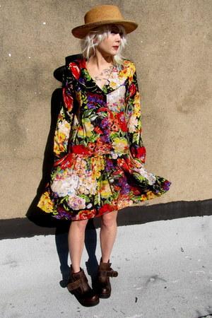 floral some velvet vintage dress