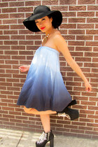 blue ombre some velvet vintage dress
