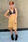 Camel-suede-some-velvet-vintage-skirt