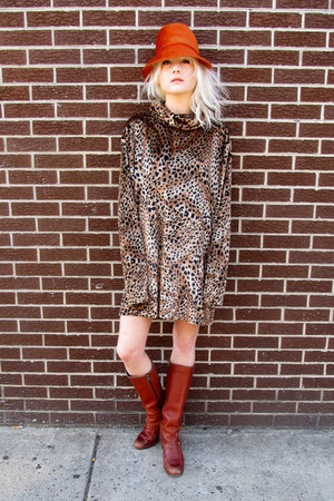 tawny leopard some velvet vintage dress